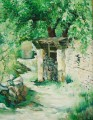 Hometown's Courtyard, Oil Painting, Chinese Painter Bai Jin